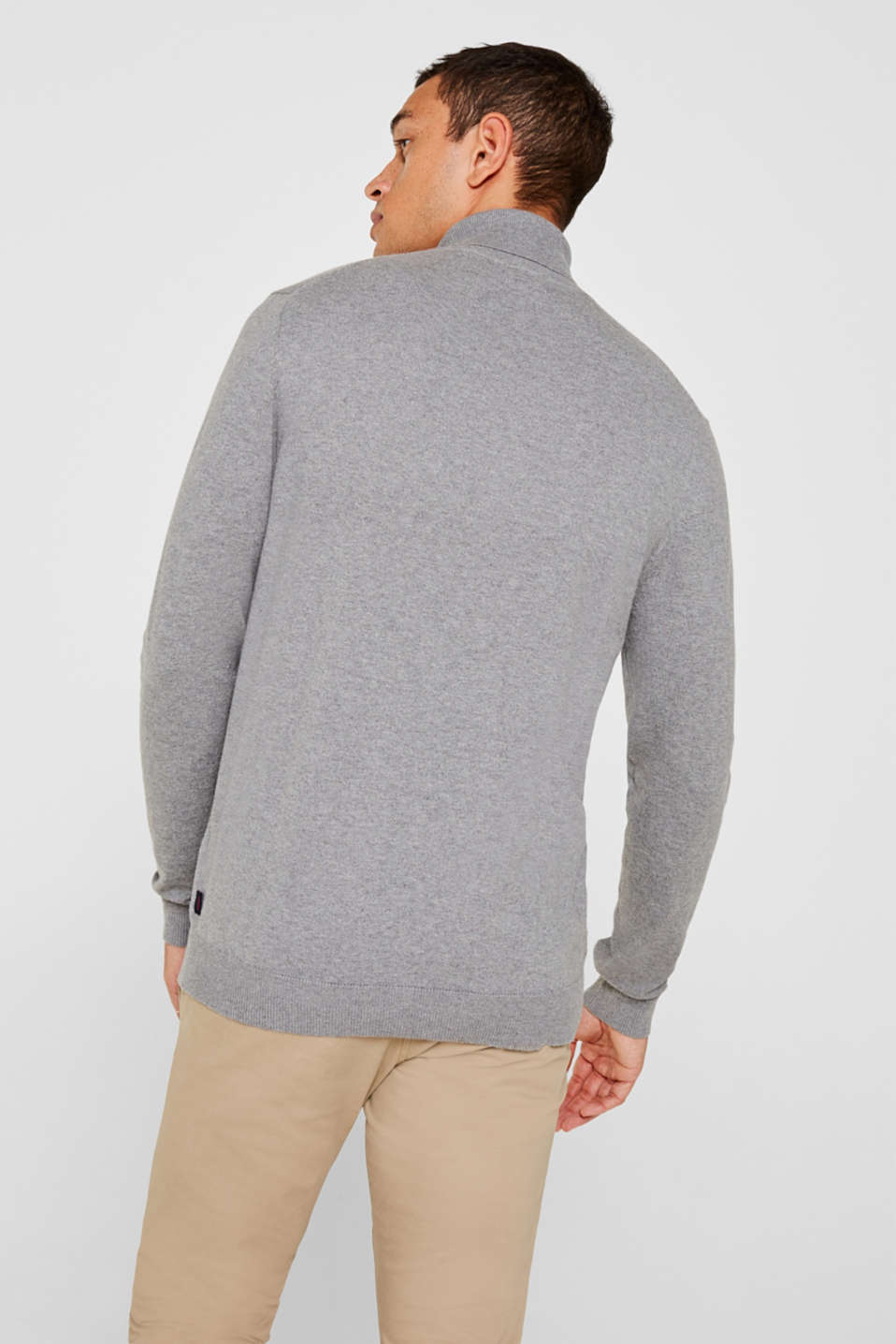 With cashmere: fine knit polo neck jumper, MEDIUM GREY, detail image number 3