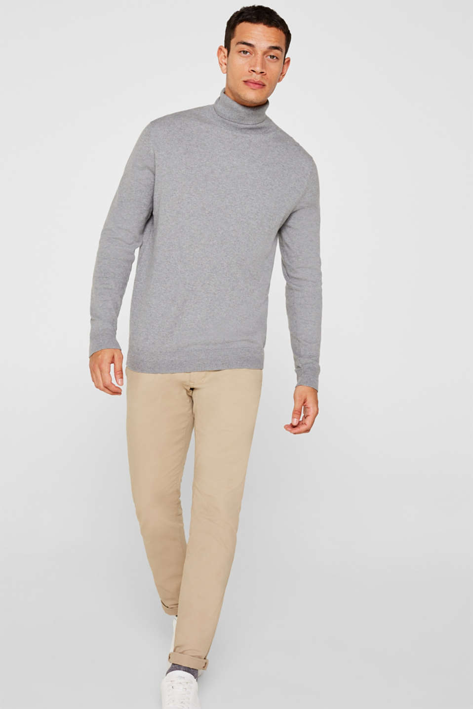With cashmere: fine knit polo neck jumper, MEDIUM GREY, detail image number 6
