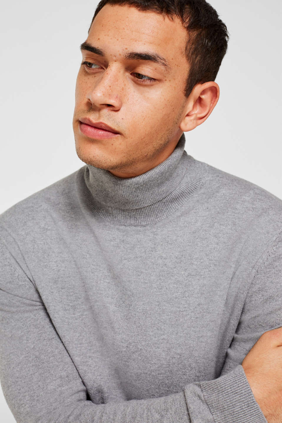 With cashmere: fine knit polo neck jumper, MEDIUM GREY, detail image number 5