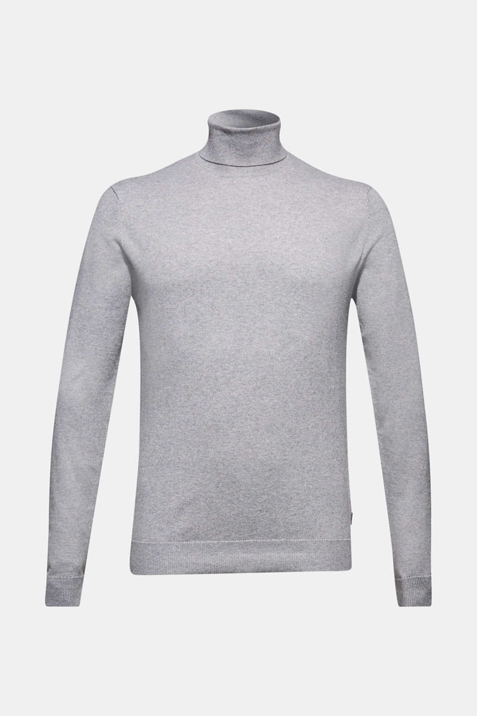 With cashmere: fine knit polo neck jumper, MEDIUM GREY, detail image number 7
