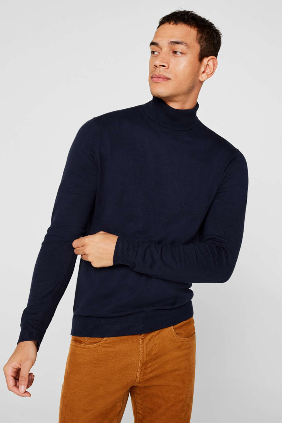 Esprit - With cashmere: fine knit polo neck jumper