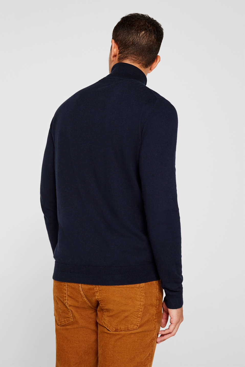 With cashmere: fine knit polo neck jumper, NAVY, detail image number 2