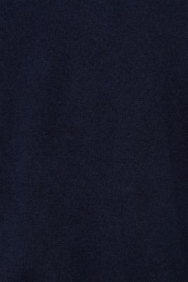 With cashmere: fine knit polo neck jumper, NAVY, detail