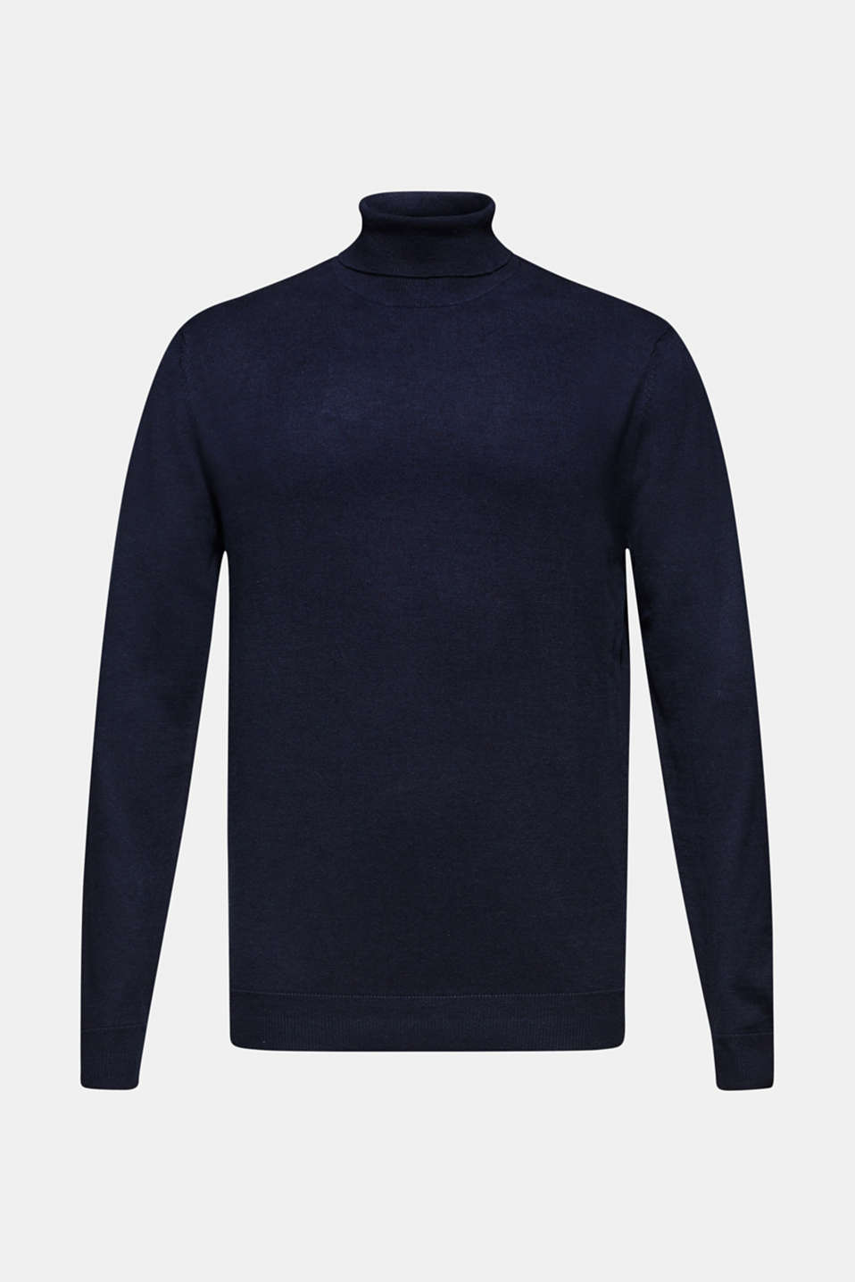 With cashmere: fine knit polo neck jumper, NAVY, detail image number 7