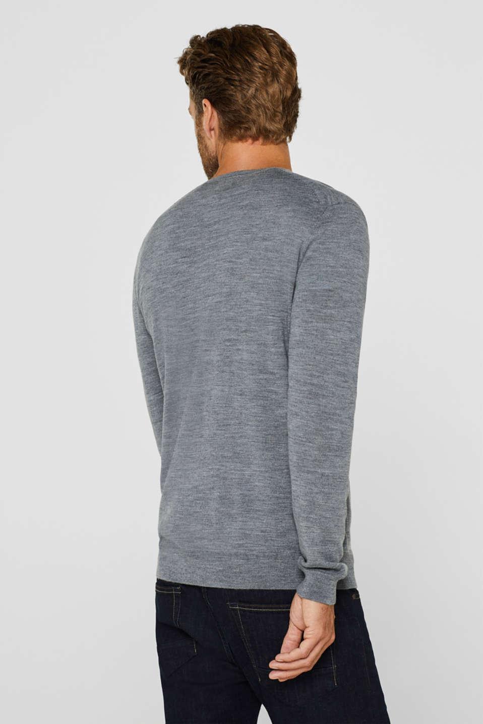 100% merino wool: V-neck jumper, GREY, detail image number 3