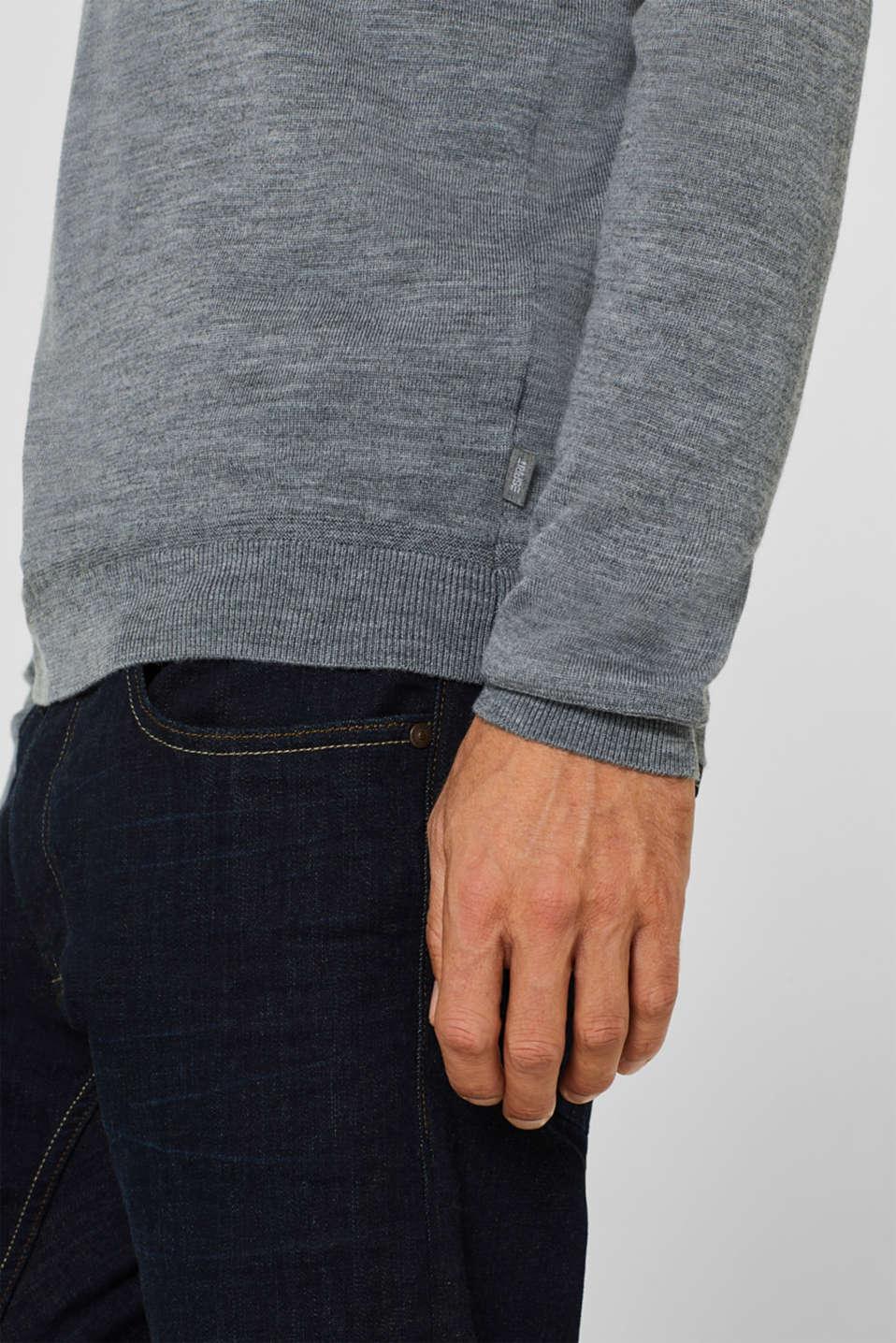 100% merino wool: V-neck jumper, GREY, detail image number 2