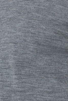 100% merino wool: V-neck jumper, GREY, detail