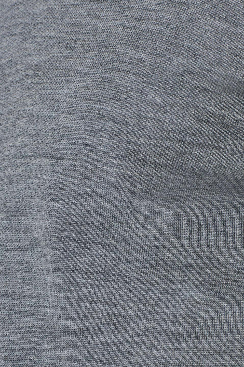 100% merino wool: V-neck jumper, GREY, detail image number 4