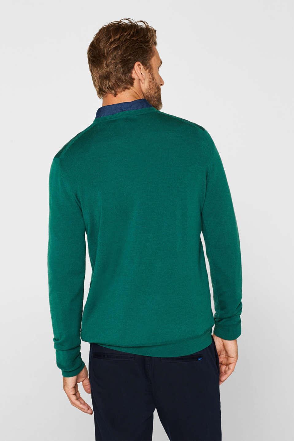 100% merino wool: V-neck jumper, EMERALD GREEN, detail image number 3