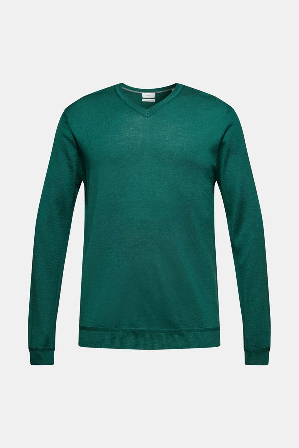 100% merino wool: V-neck jumper, EMERALD GREEN, detail image number 7