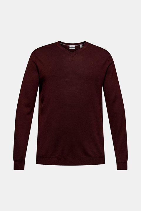 100% merino wool: V-neck jumper