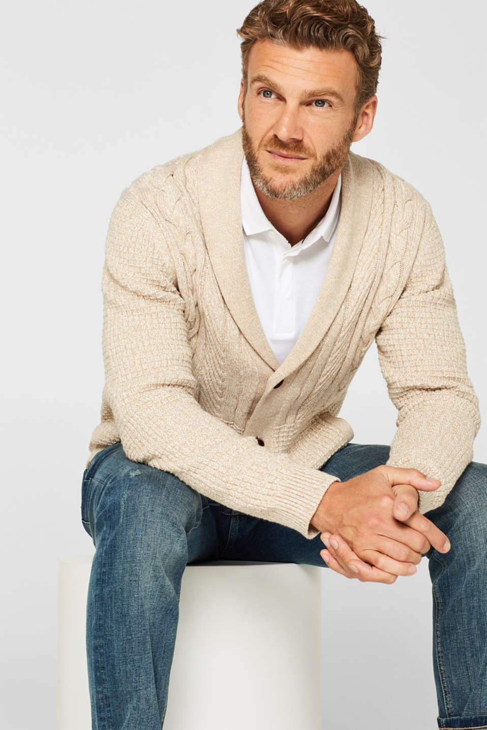 Esprit - Cardigan with a mix of textures, 100% cotton