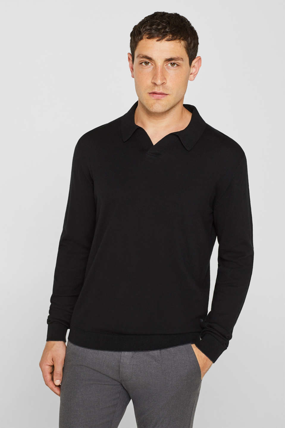 Silk blend: jumper with an open polo collar