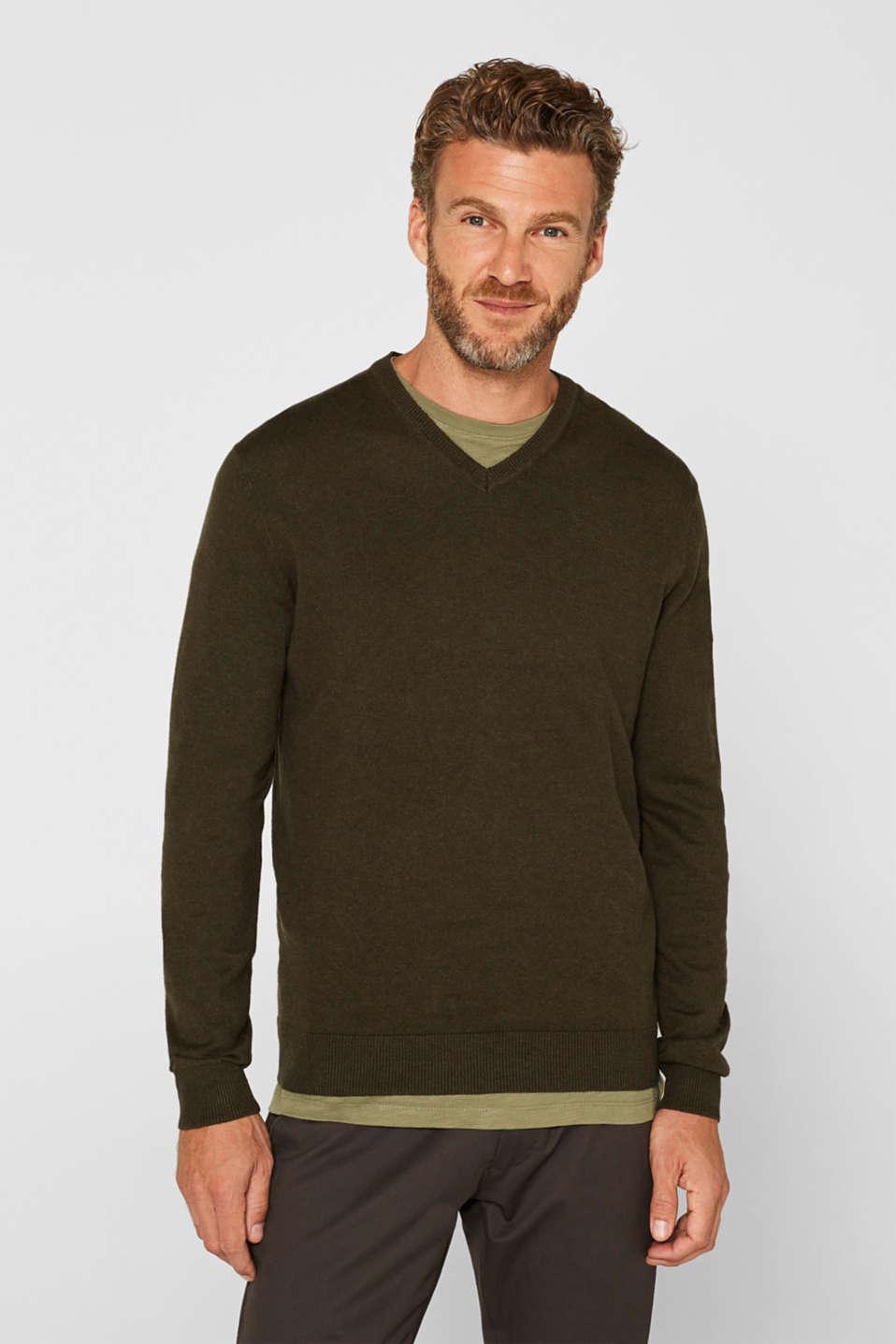 Cashmere blend: V-neck jumper, DARK KHAKI, detail image number 0