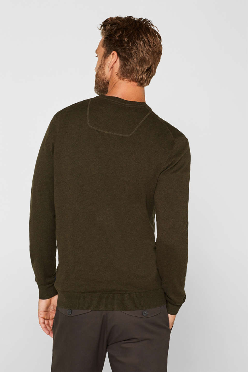 Cashmere blend: V-neck jumper, DARK KHAKI, detail image number 3