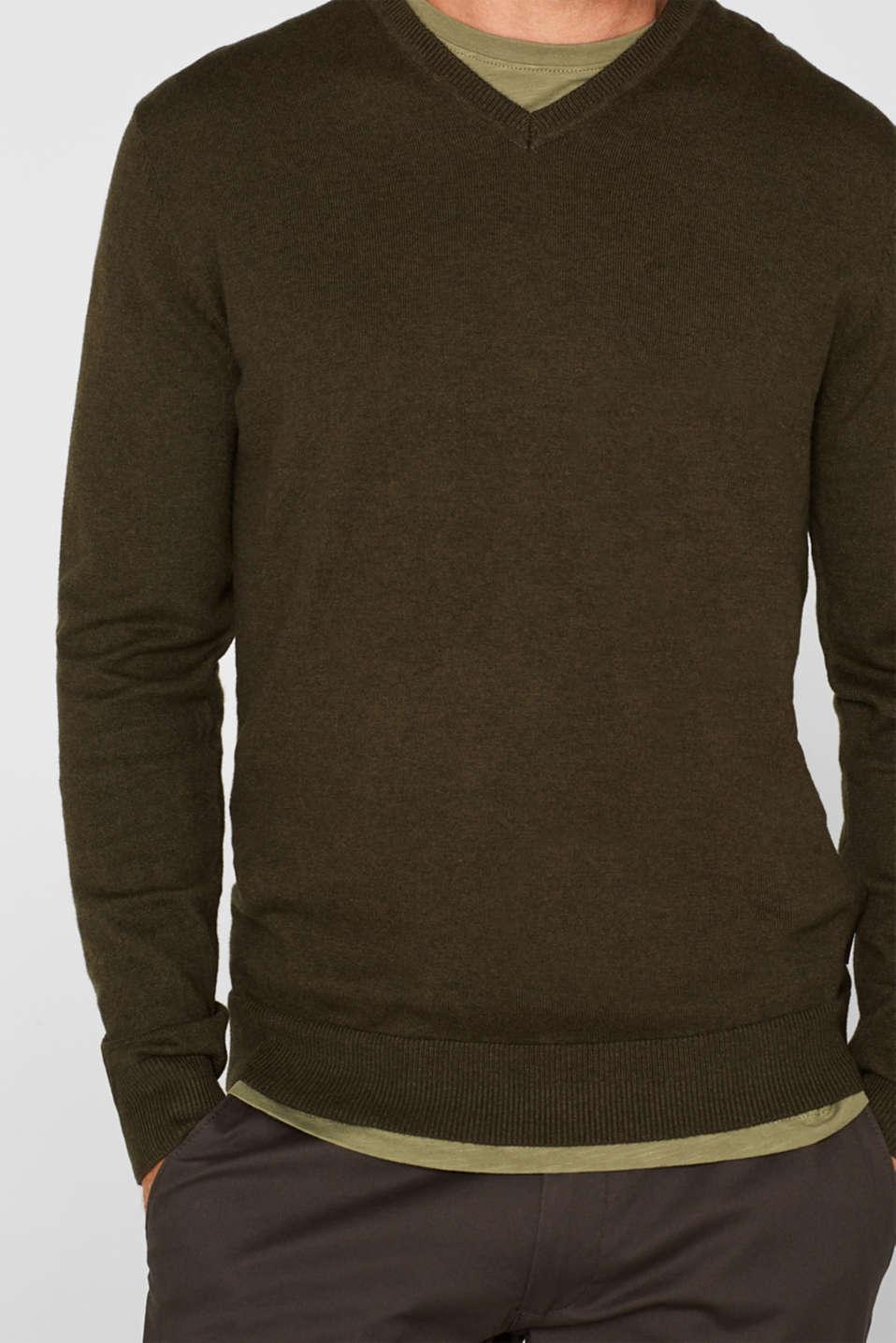 Cashmere blend: V-neck jumper, DARK KHAKI, detail image number 2