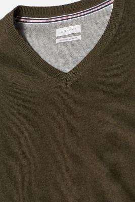 Cashmere blend: V-neck jumper, DARK KHAKI, detail