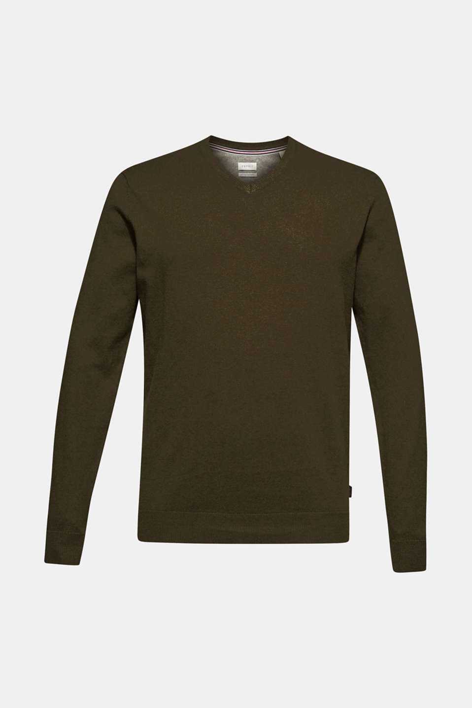 Cashmere blend: V-neck jumper, DARK KHAKI, detail image number 6