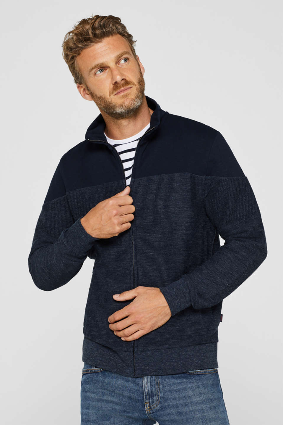 Sweatshirt cardigan with organic cotton, NAVY, detail image number 0
