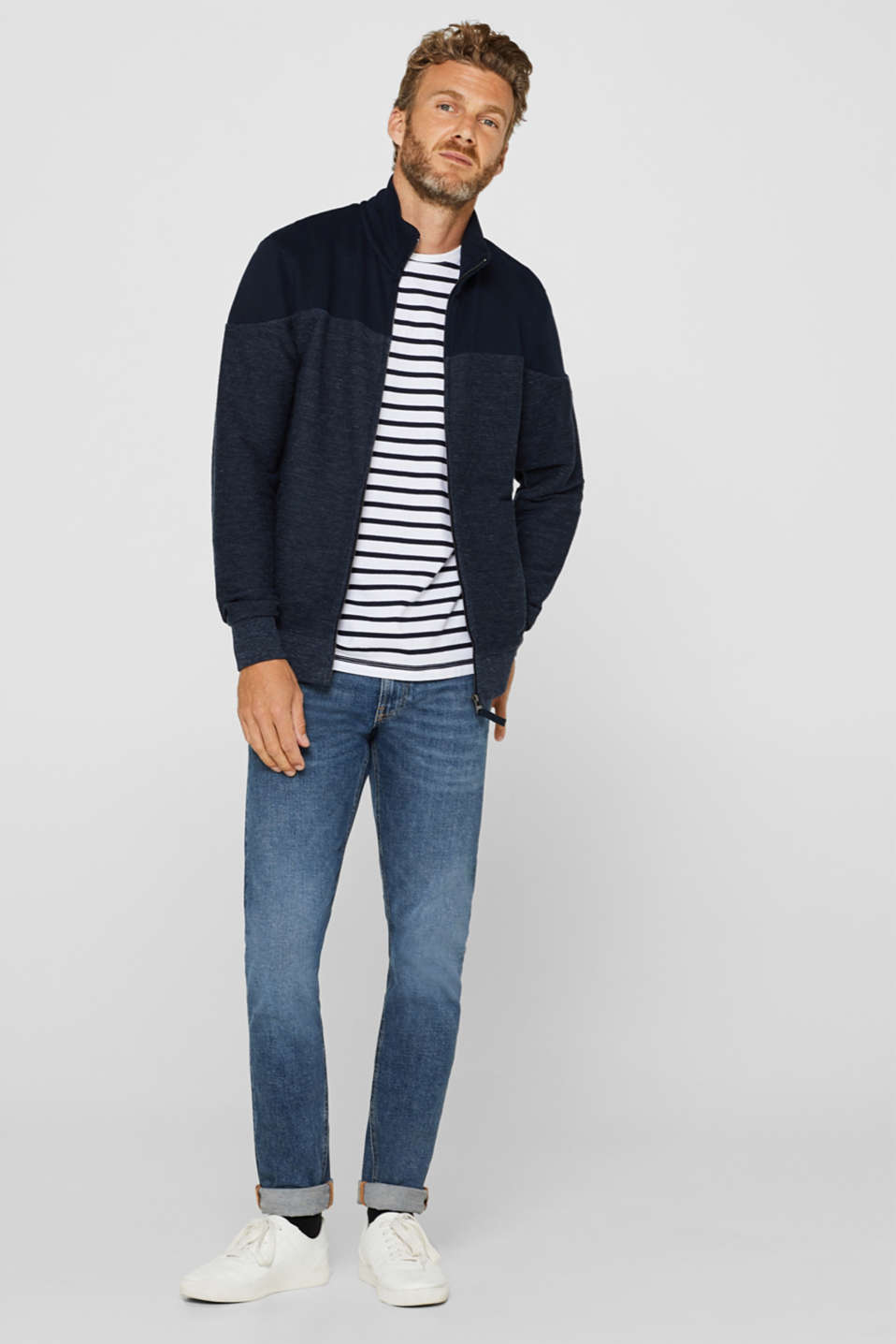 Sweatshirt cardigan with organic cotton, NAVY, detail image number 1