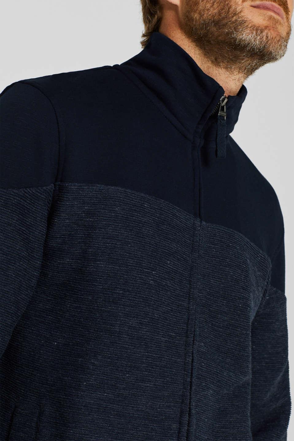 Sweatshirt cardigan with organic cotton, NAVY, detail image number 2