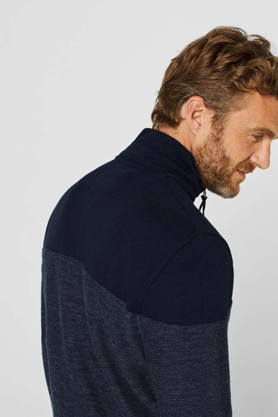 Sweatshirt cardigan with organic cotton, NAVY, detail image number 6