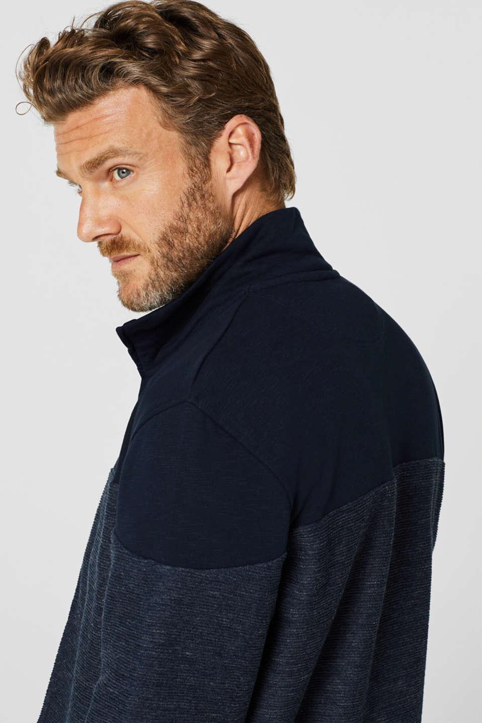Sweatshirt cardigan with organic cotton, NAVY, detail image number 5