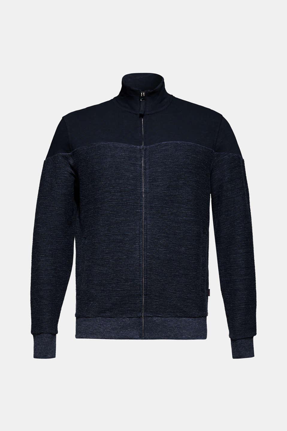 Sweatshirt cardigan with organic cotton, NAVY, detail image number 7