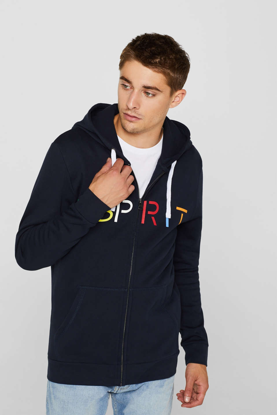 Sweatshirt cardigan with logo, 100% cotton