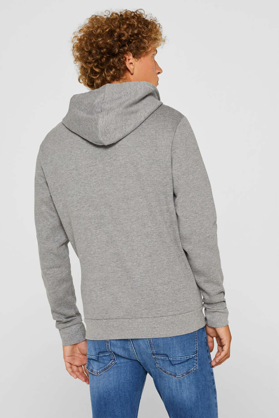 Hoodie with a logo print, MEDIUM GREY, detail image number 3
