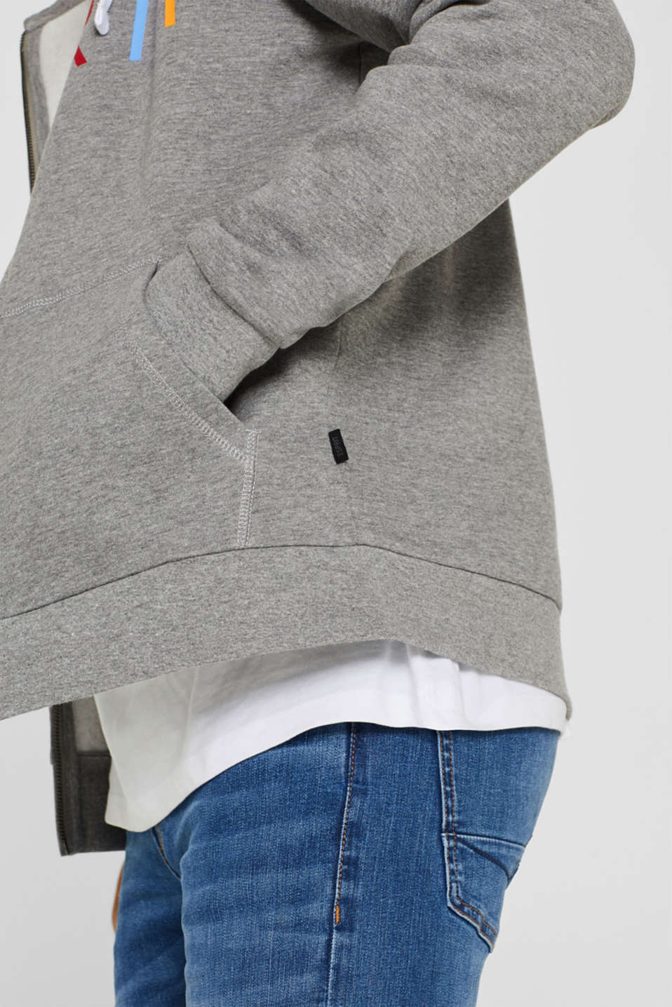 Hoodie with a logo print, MEDIUM GREY, detail image number 2