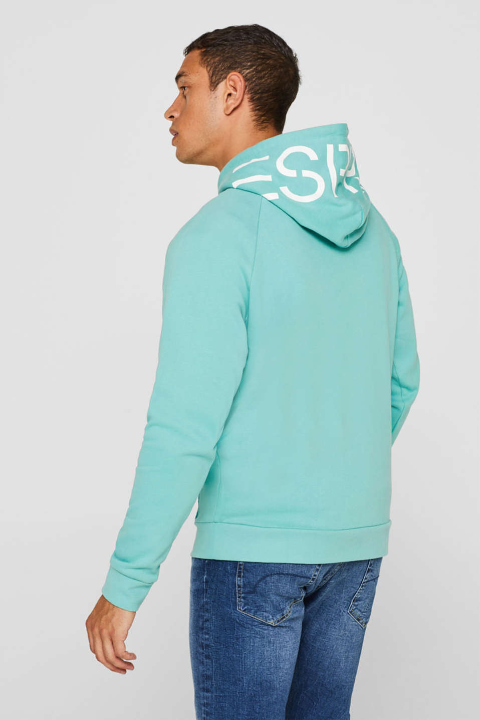 Hoodie with logo print, 100% cotton, AQUA GREEN, detail image number 3