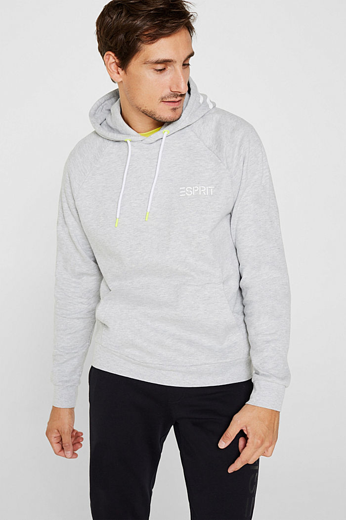 Hoodie with a logo print, MEDIUM GREY, detail image number 0
