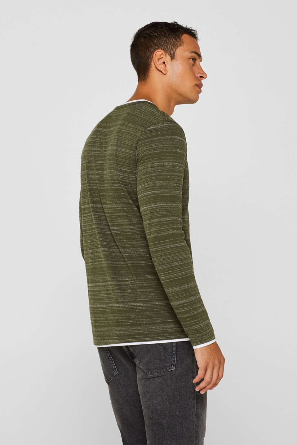 Long sleeve jersey top in a layered look, KHAKI GREEN, detail image number 3