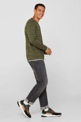 Long sleeve jersey top in a layered look, KHAKI GREEN, detail