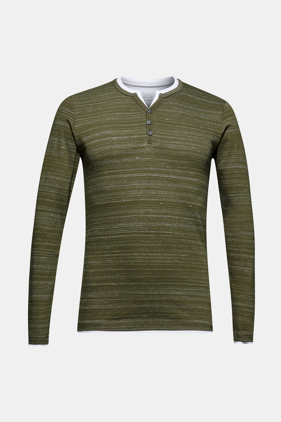 Long sleeve jersey top in a layered look, KHAKI GREEN, detail image number 6