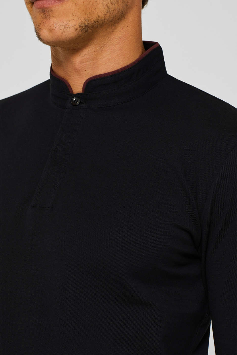 Piqué polo shirt made of Pima cotton, BLACK, detail image number 1