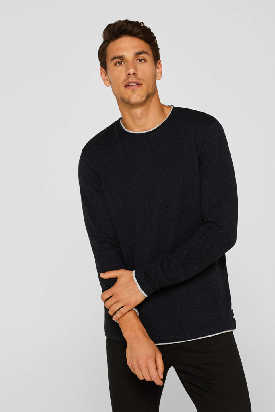 Long sleeve jersey top in a layered look, BLACK, detail image number 0