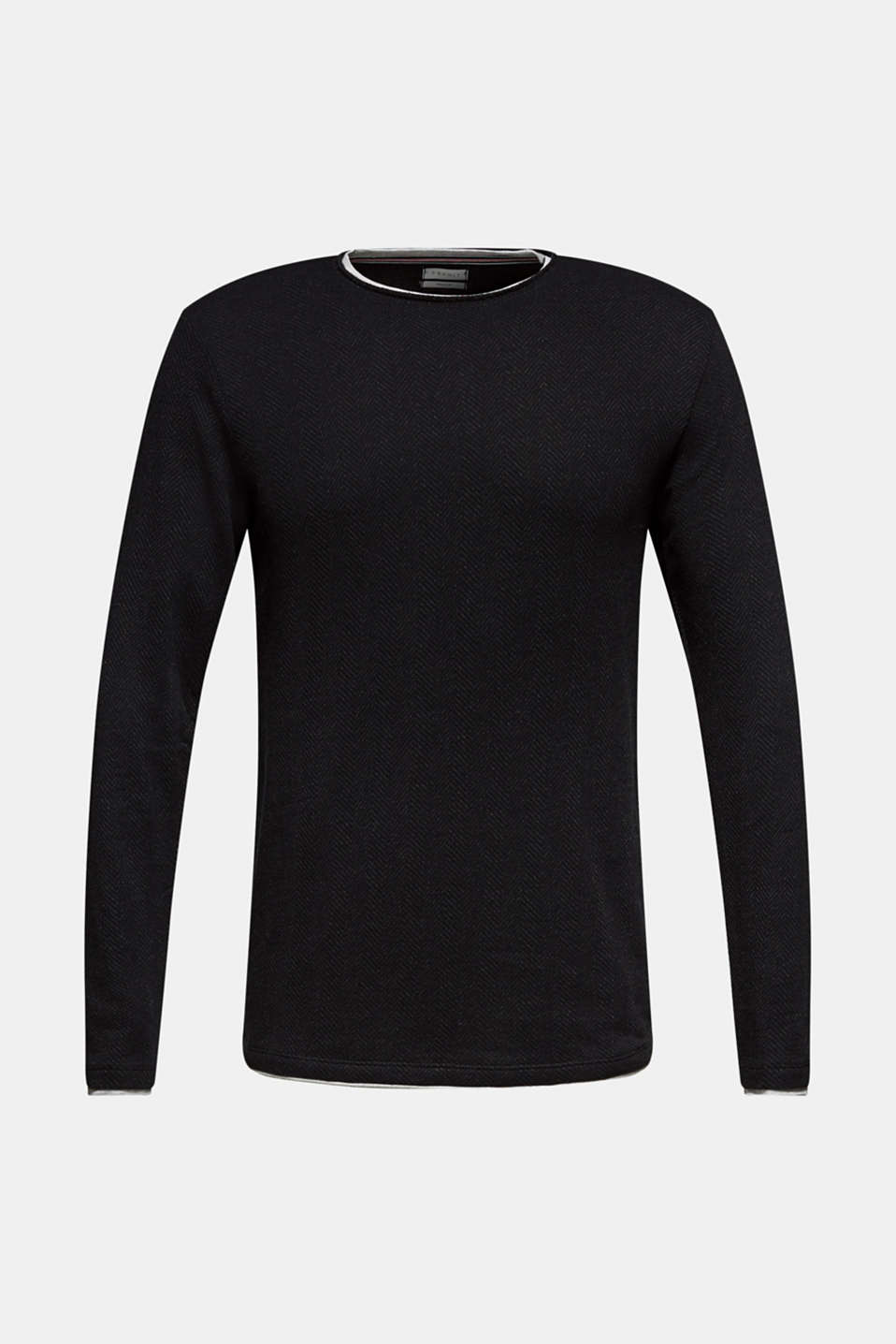 Long sleeve jersey top in a layered look, BLACK, detail image number 6