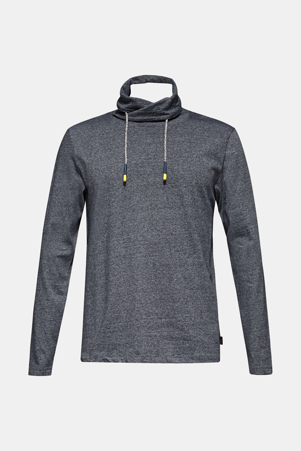 Long sleeve jersey top with a drawstring collar, MEDIUM GREY, detail image number 6