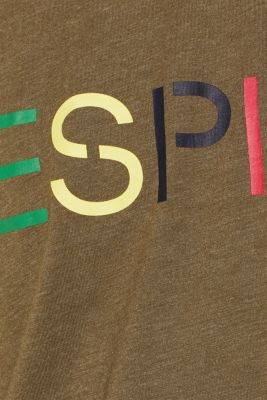 Jersey T-shirt with logo, made of blended cotton, KHAKI GREEN, detail