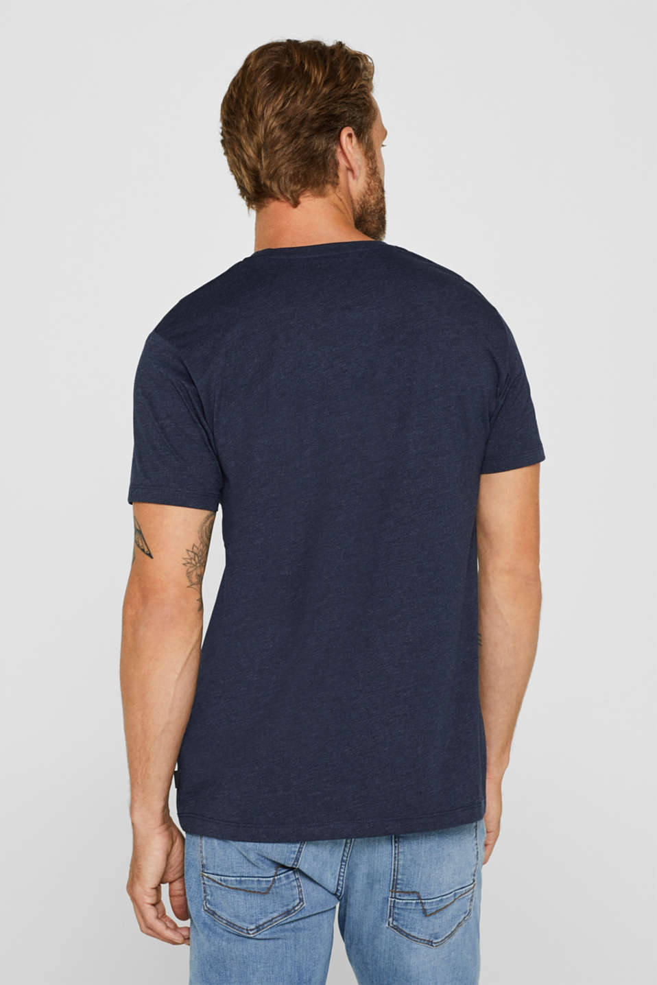 Jersey T-shirt with logo, made of blended cotton, NAVY, detail image number 3