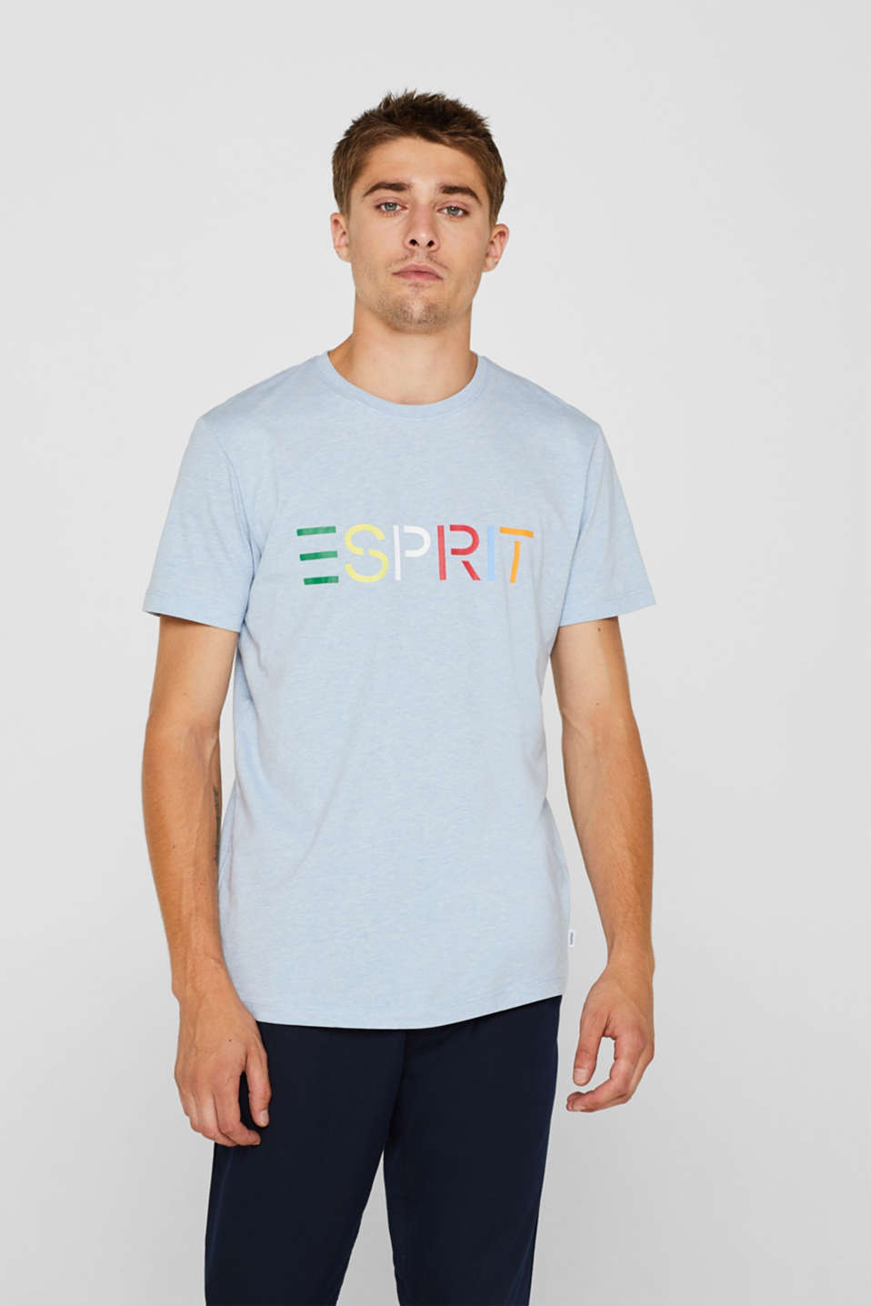 Jersey T-shirt with logo, made of blended cotton, LIGHT BLUE, detail image number 0