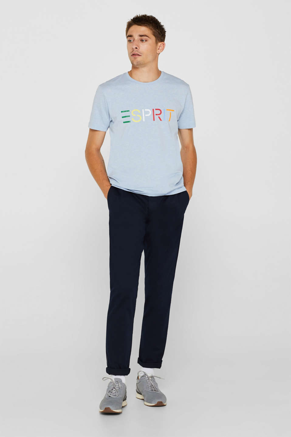 Jersey T-shirt with logo, made of blended cotton, LIGHT BLUE, detail image number 2