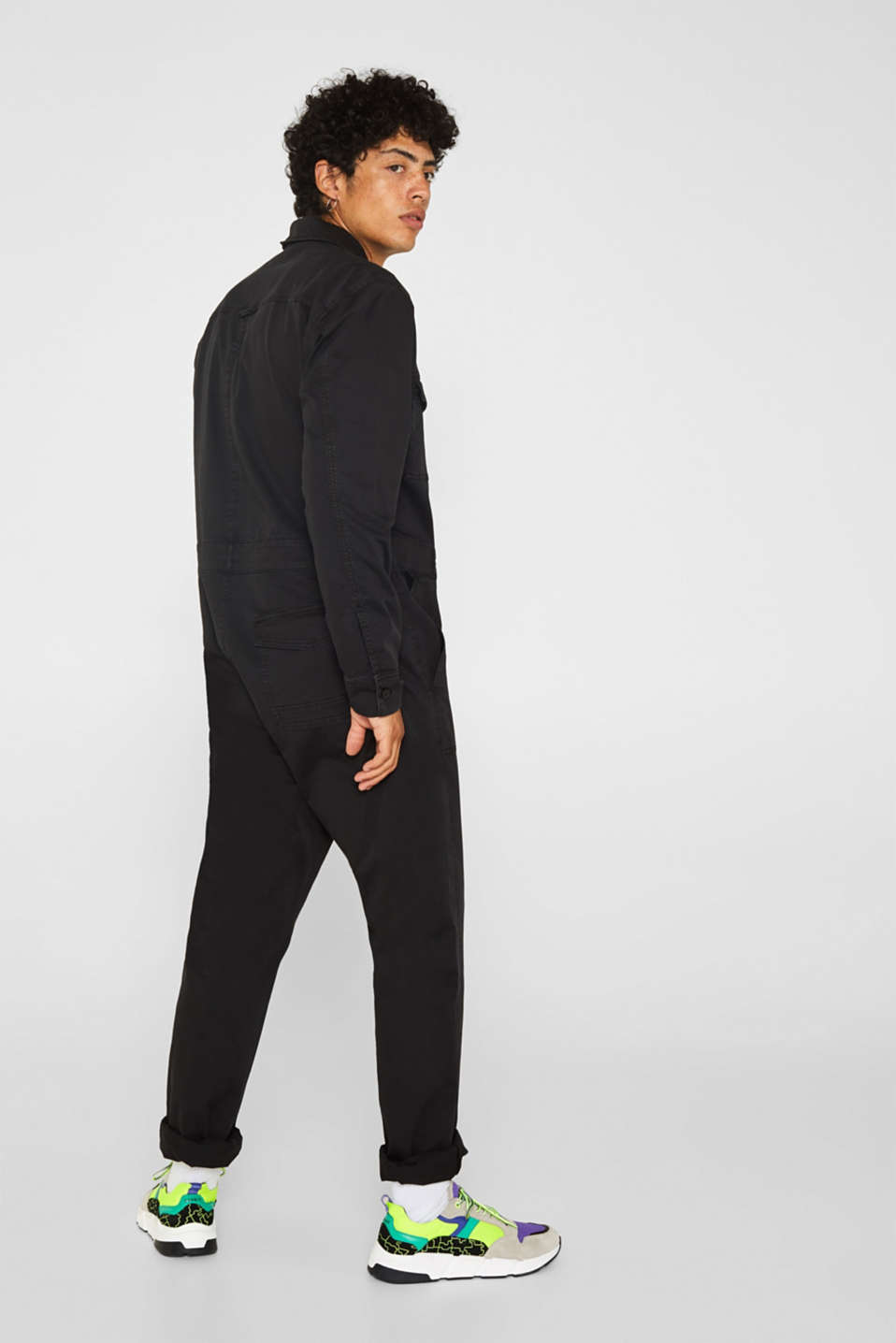 #throwback jumpsuit made of stretch cotton, BLACK, detail image number 1