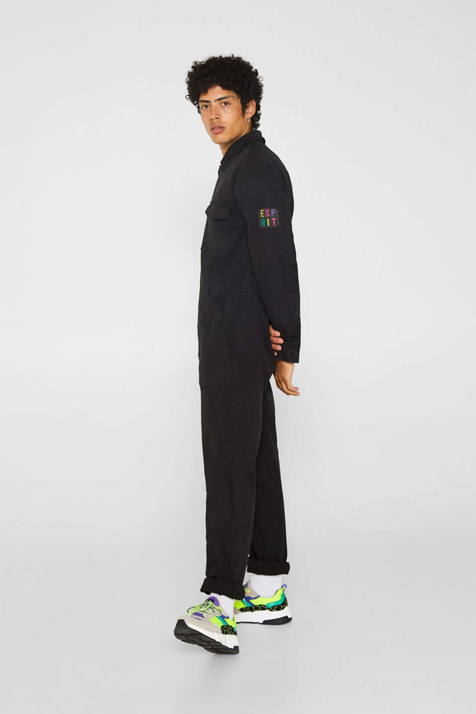 #throwback jumpsuit made of stretch cotton, BLACK, detail image number 3