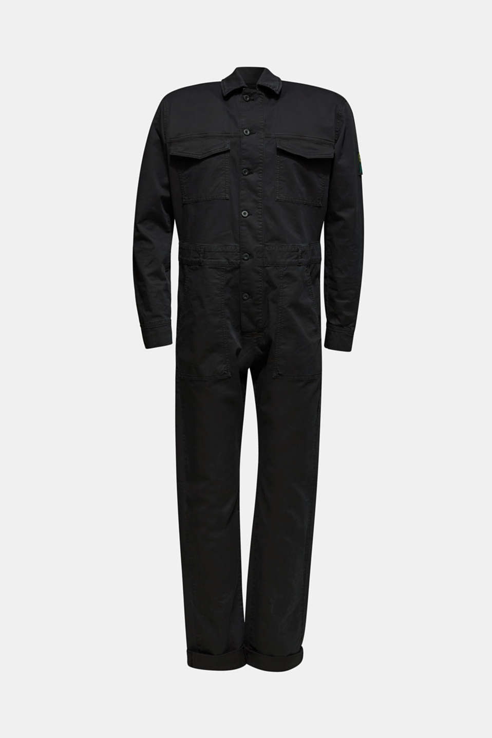 #throwback jumpsuit made of stretch cotton, BLACK, detail image number 6