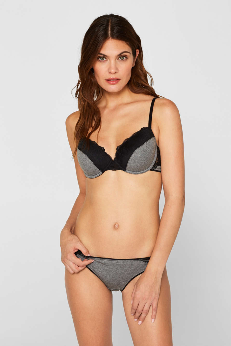 Esprit - Underwire bra in jersey and lace
