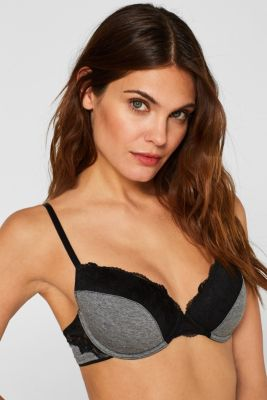 Underwire bra in jersey and lace
