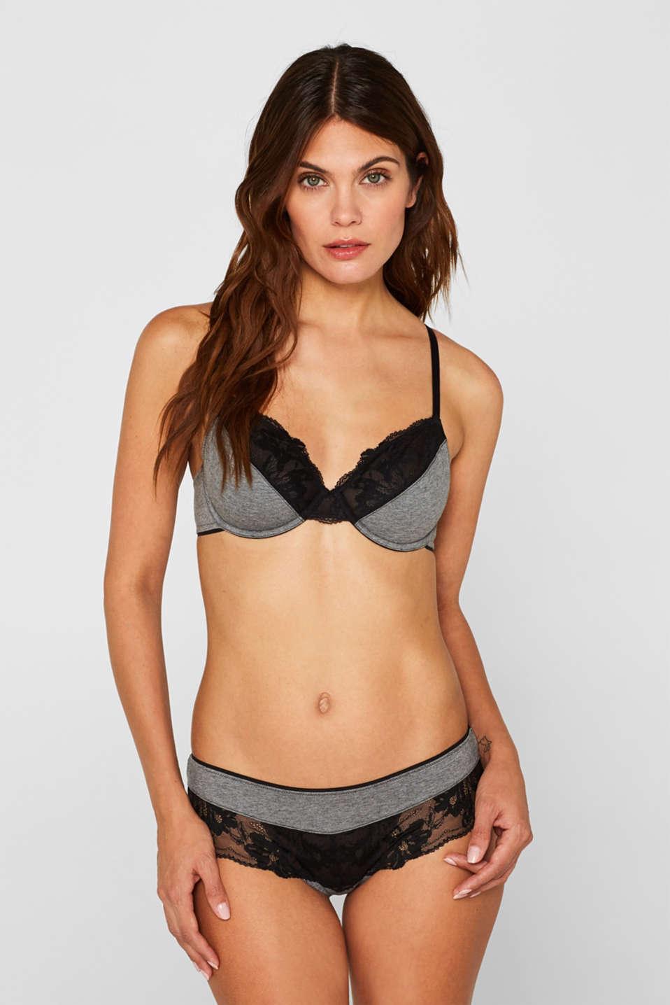 Non-padded, underwire fabric blend bra, DARK GREY, detail image number 0